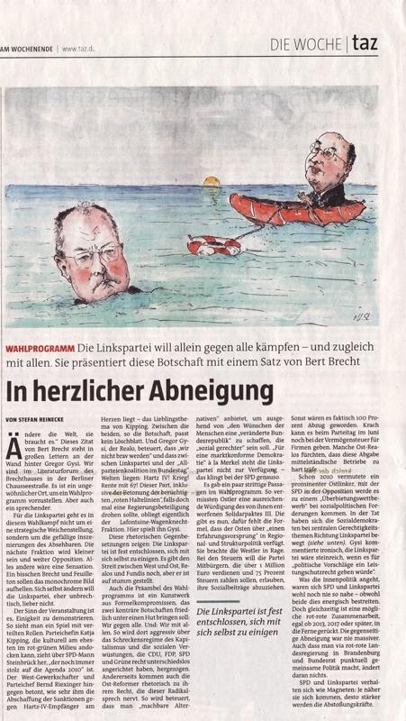"""Veröffentlichung >taz -  """"Steinbrück/Gysi"""""""